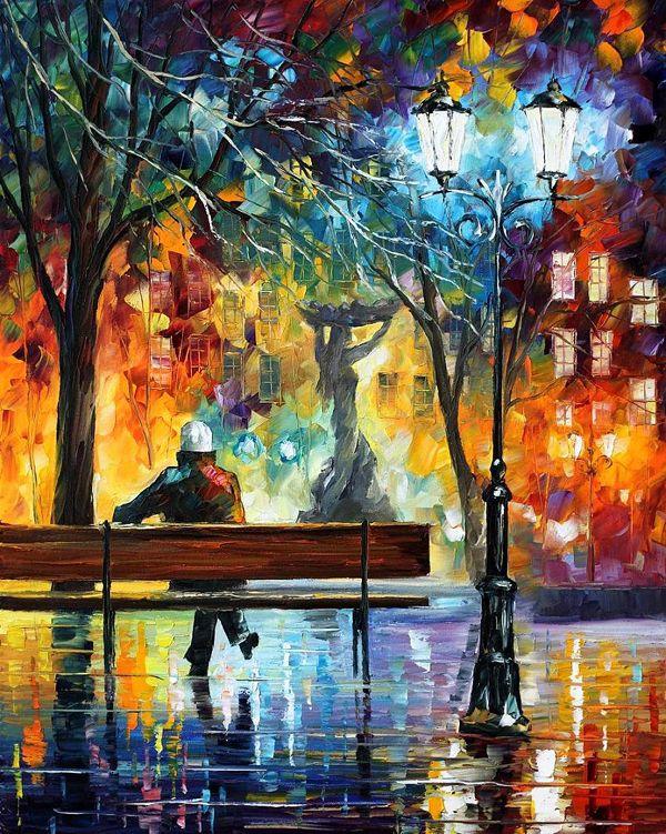 ARTIST OF THE WEEK:Leonid Afremov, 1955- Leonid... | ART MASTERED: Paintings Art, Oil Paintings, Art Paintings, Leonidafremov, Beautiful, Canvas, Leonid Afremov, Colors Paintings, Water Colors