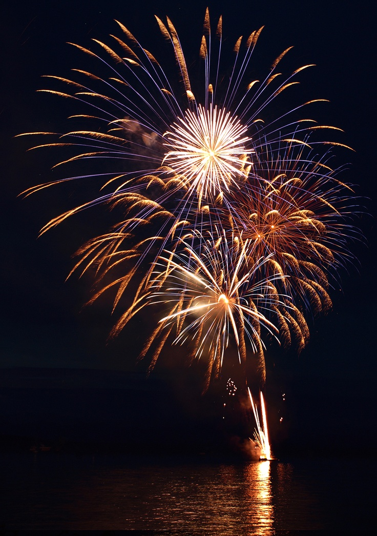 Canada Day Celebrations with fireworks in Parksville Bay.