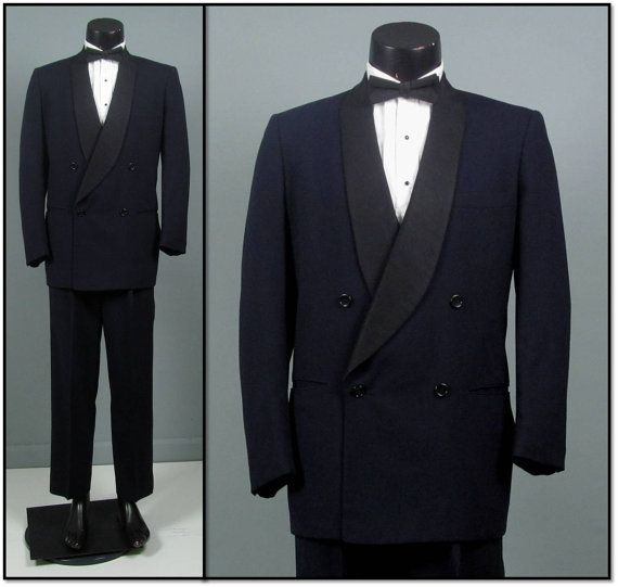 Vintage Tuxedo Mens 1950s MIDNIGHT BLUE Double Breasted Shawl Collar Two 2 Piece Mens Vintage Tuxedo