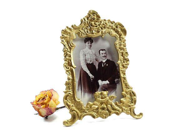 Antique Brass Frame  Brass Photo Frame  Ornate Photo Frame