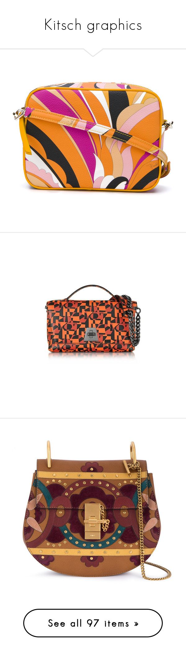 """""""Kitsch graphics"""" by xiandrina ❤ liked on Polyvore featuring bags, handbags, shoulder bags, multicolor, multi colored handbags, multi color purse, orange shoulder bag, shoulder hand bags, emilio pucci and red"""