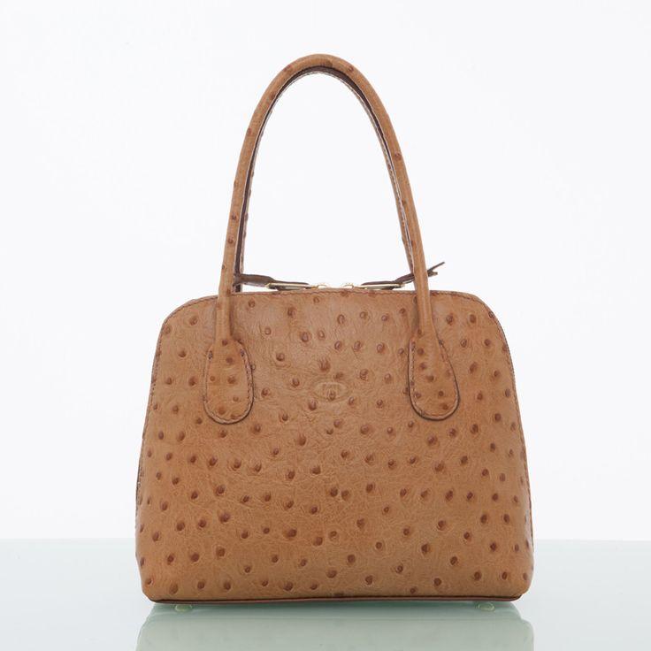 Aine - Hazel Ostrich Print Handbag