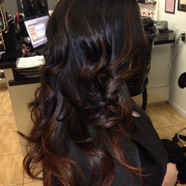 Cute Highlights on black hair.