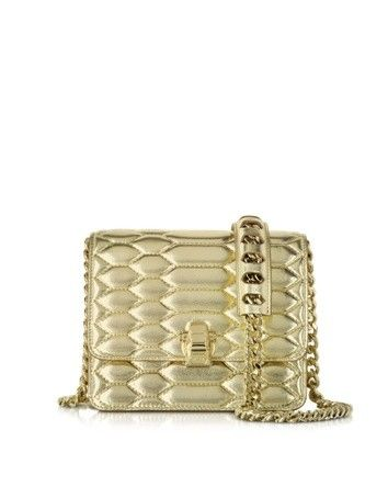 HERA SMALL PLATINUM PYTHON PRINT QUILTED & LAMINATED LEATHER SHOULDER BAG ROBERTO CAVALLI