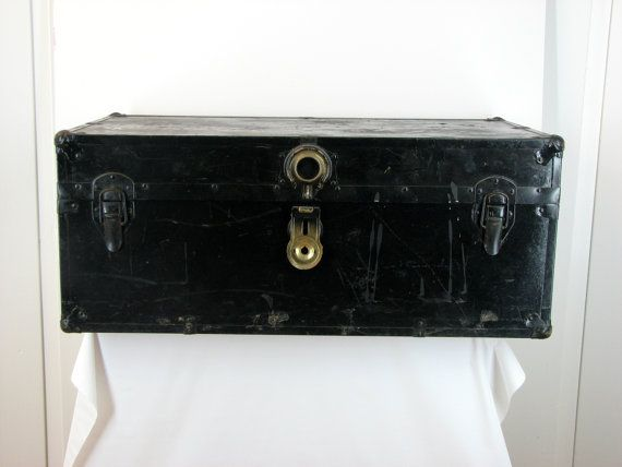 Antique Black Trunk with Leather Handles ~ Vintage Trunk, Black Steamer Trunk, Trunk Coffee Table, Old Black Trunk, Antique Trunk