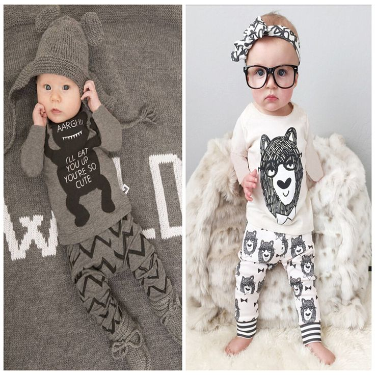 Retail 2016 baby clothes  infant clothes baby clothing sets boy Cotton little monsters long sleeve 2pcs baby boy clothes