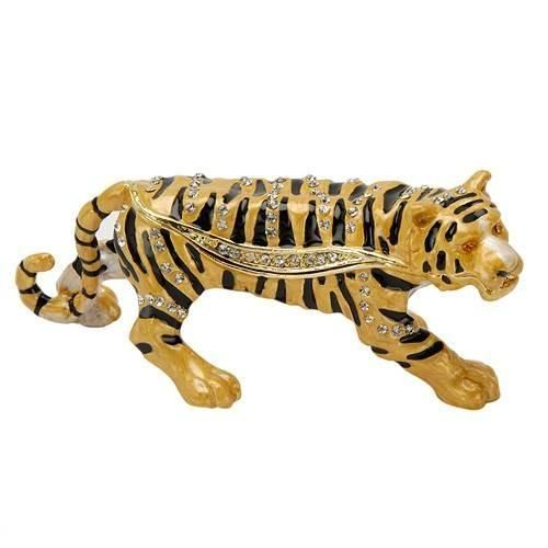 Wonderful tiger jewelry box, made of yellow base metal and multicolor enamel.