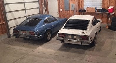 Matthew with his 2 Series 1 Datsun 240Zs. Now that's a pretty cool Datsun Garage!  Tag a friend. What's in your garage?  #datsun #datsunz #datsungarage #s30 #series1 #240z #zcar #jdm