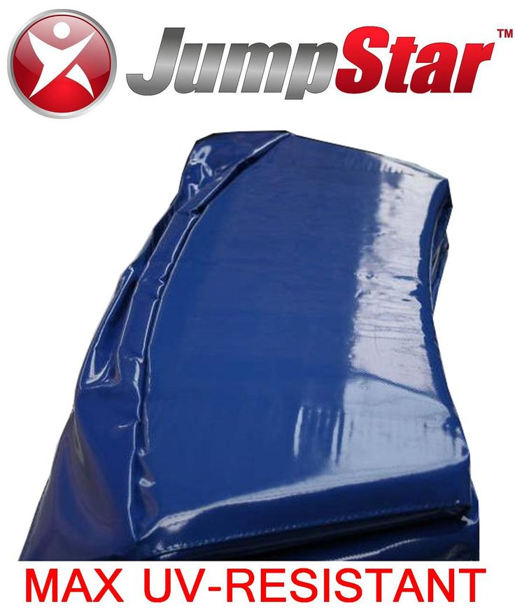 Fabulous Max UV-resistant PVC spring cover replacement pads! All sizes from 4ft - 16ft, round and rectangle trampolines.  www.jumpstar.com.au