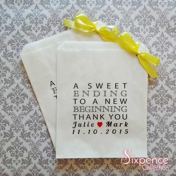 Personalised A Sweet Ending Thank You White Paper Candy Buffet