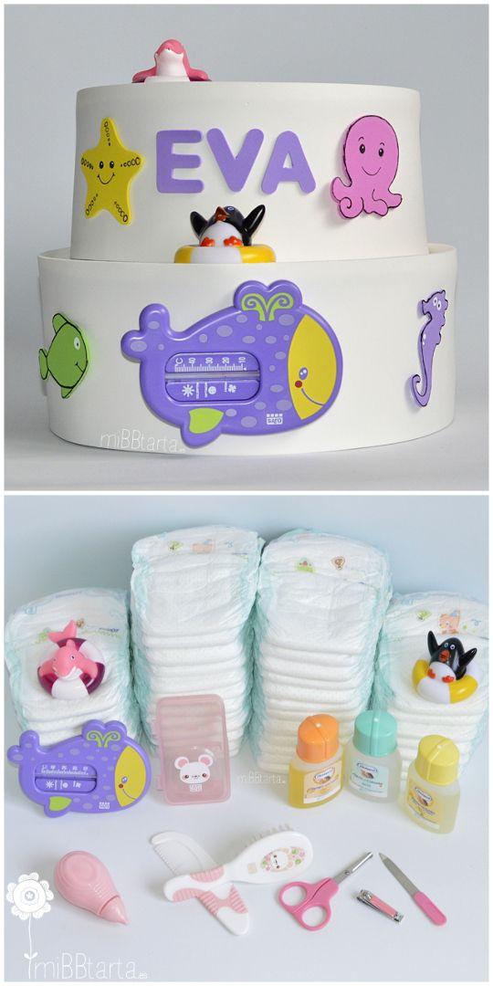 Con esta original tarta de pañales podrás regalar un montón de cositas muy útiles para el baño del bebé además de hacer un regalo de nacimiento divertido. #regalobebe #regalosoriginales #canastilla #tartasdepañales #babyshower #canastillas #tartadepañales