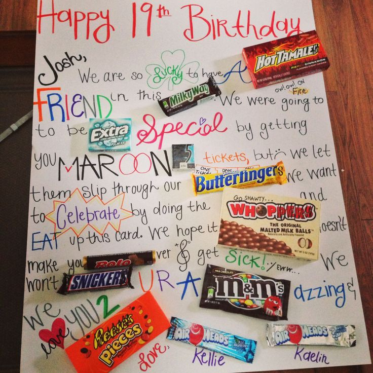 19th birthday candy card! Crafts Pinterest 19