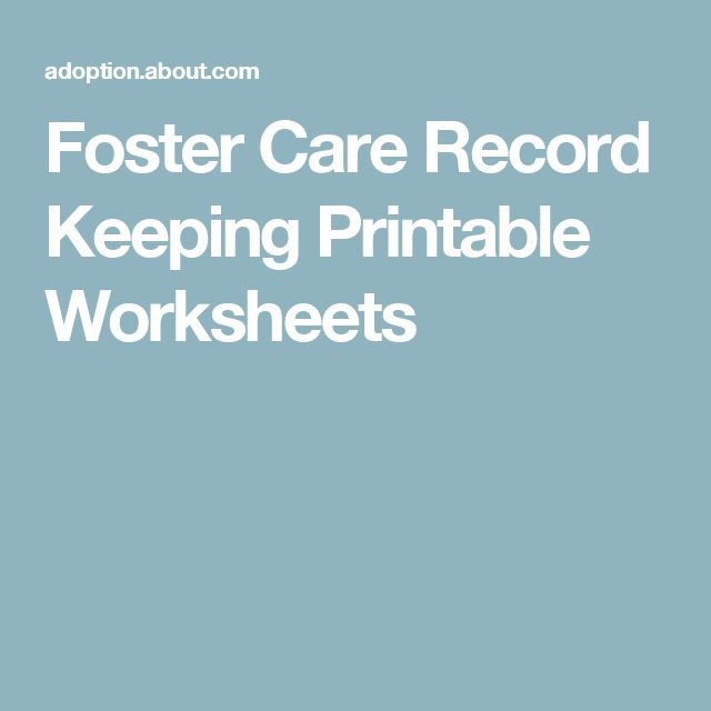 Foster Care Record Keeping Printable Worksheets