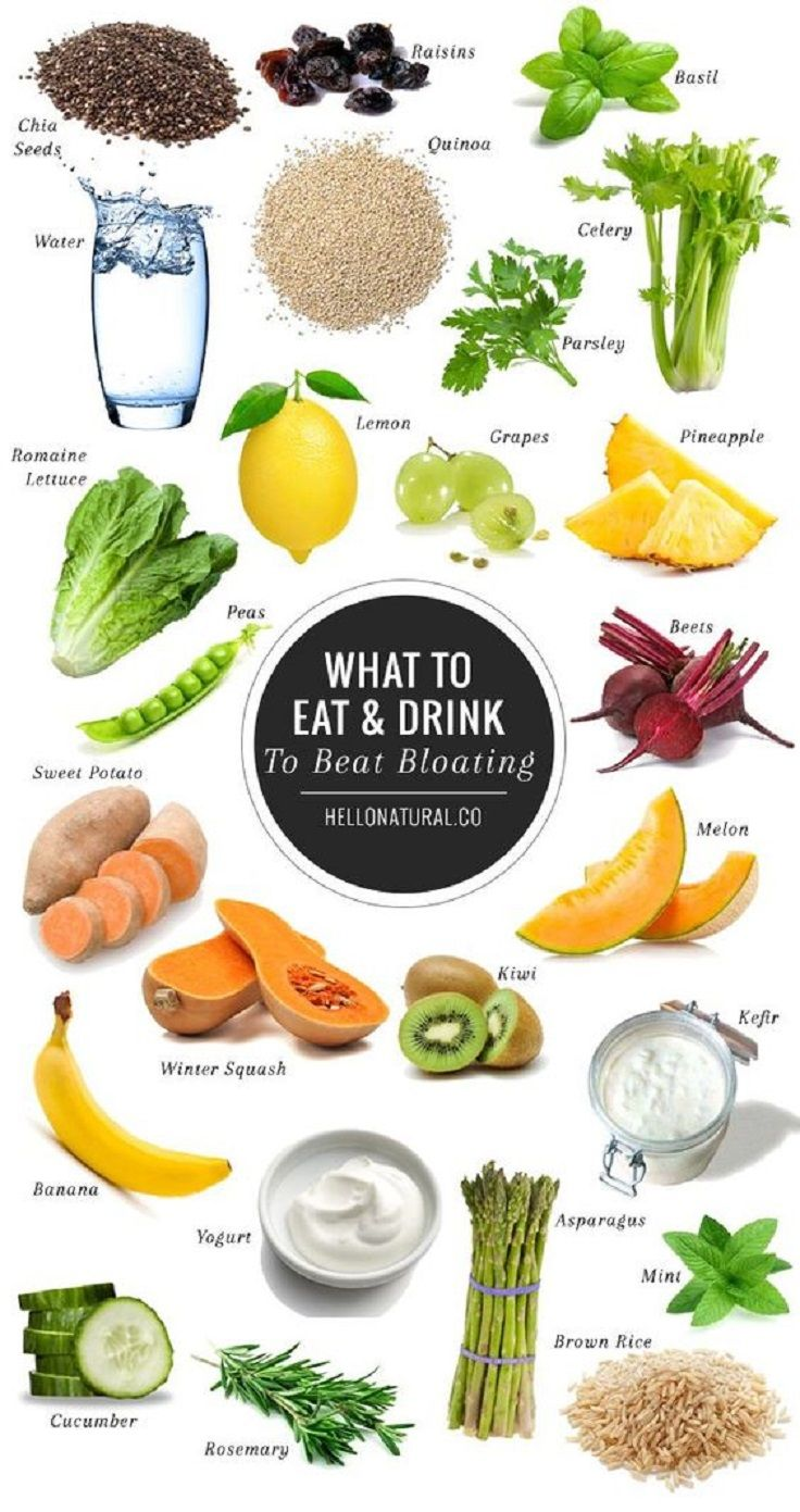 Find Out What to Eat and Drink to Beat Bloating - 10 Best Flat Belly Tips, Tricks and Infographics