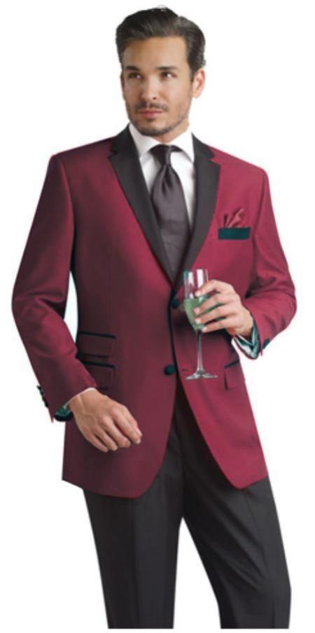 e88308b949fe Black and Burgundy ~ Maroon ~ Wine Color Two Button Notch Party Suit &  Tuxedo & Blazer Suit W/ Black Lapel + Free Pants Dinner Jacket | Fashion I  Adore ...