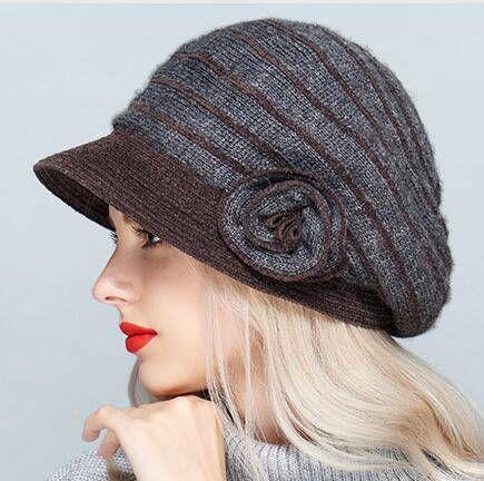 f147cf40ff6 Warm knit bucket hat with flower for women soft wool hats winter wear
