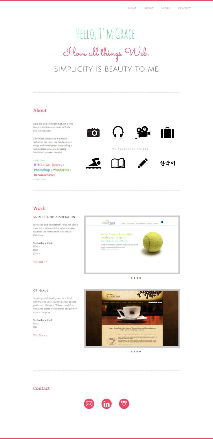 Lovely spacious one page portfolio for front-end dev Grace Koh based in Kuala Lumpur, Malaysia.