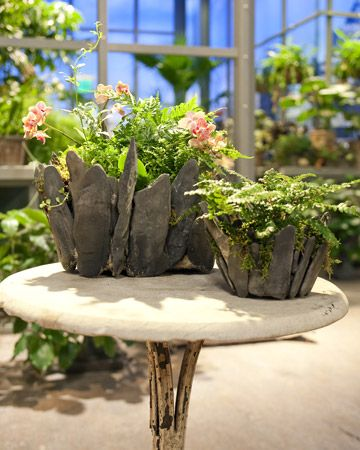 Stone Planters  Make your own stunning planter using stones and cement.: Gardens Ideas, Cement Planters, Unique Planters, Stones Planters, Natural Stones, Martha Stewart, Flats, Stone Planters, Flower
