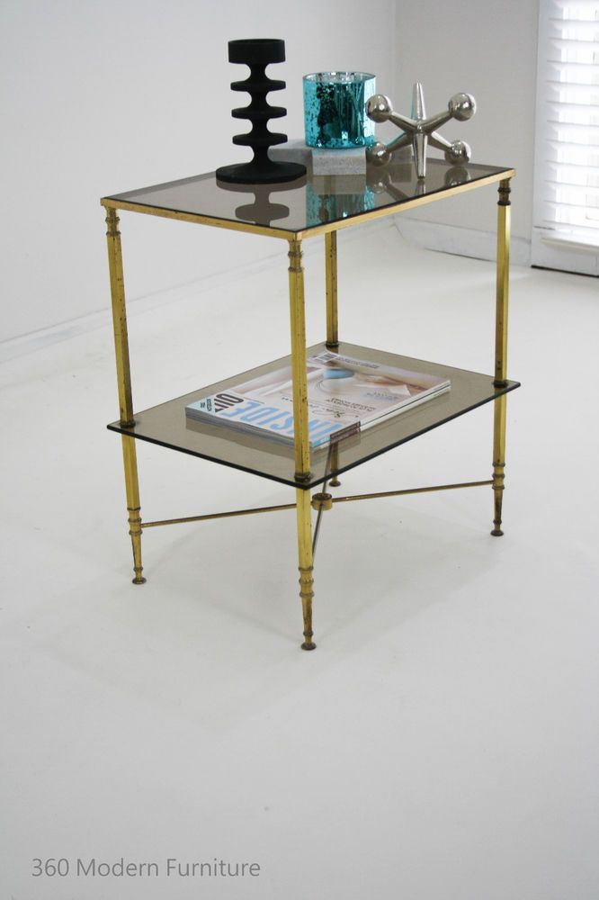 mid century coffee side table spanish brass hollywood retro vintage modernist 360 modern furniture