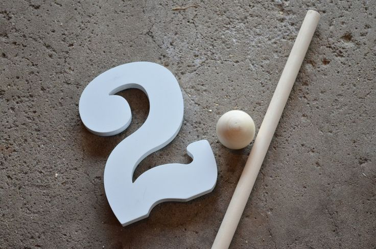"Making a Riddler cane for a buddy of mine. This is most of the materials I used in the project. I bought two wall-hanging ""2""s, which will become the upper part of the question mark, a wooden spher..."