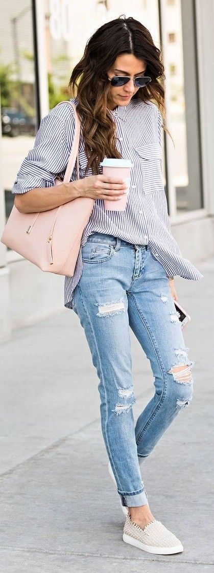 #spring #street #fashion #outfitideas | Blue Stripe Shirt + Ripped Denim + Nude Loafers | Hello Fashion