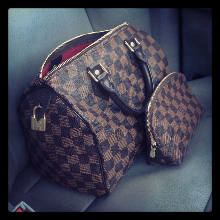 Louis Vuitton Speedy 30 in Damier Ebene & cosmetic pouch pm. I want these!!