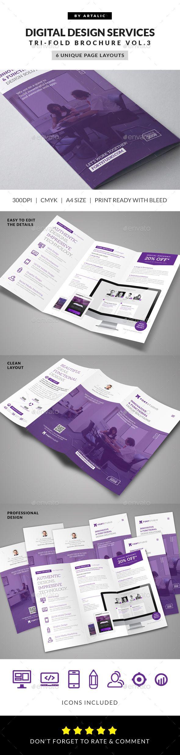 Web App Graphic Design Brochure  -  InDesign Template #Design studio #Minimal #Graphic design #Polygon #Website • Only available…