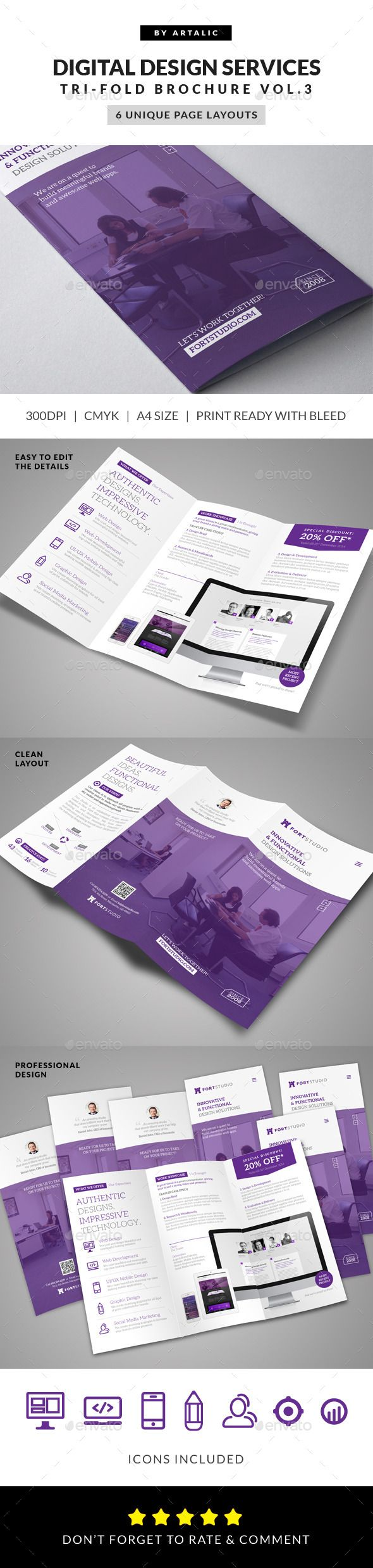 Web App Graphic Design Brochure  -  InDesign Template #Design studio #Minimal #Graphic design #Polygon #Website • Only available…