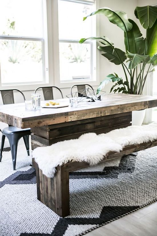 Faux Fur Dining Room Bench - Scandinavian Interiors