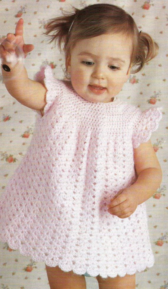 PDF Crochet pattern - Crochet Dress - Instructions for sizes 19-22 chest - Double Knitting yarn - One colour and three black and white files available as soon as purchase is complete. Thanks for looking