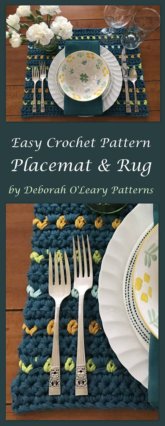 Crochet Rug and Placemat Pattern  Easy Pattern - Bulky Yarn - by Deborah O'Leary Patterns #crochet #homedecor #rug #patternsforcrochet