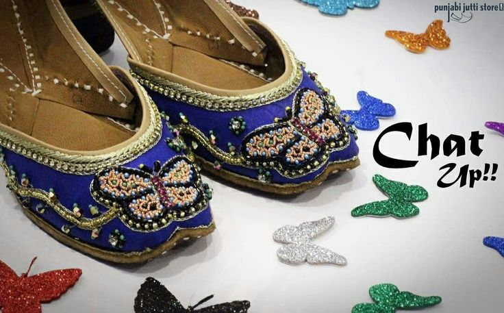 The little butterfly in your feet signify a beautiful story; story of a indepeendent girl who wants to break all the walls and fly freely  Introducing our new range ❤️Chat Up!❤️ Perfect pair for every Occasion, these Punjabi Jutti's feature a Vibrant Butterfly Design and add a Beautiful finish for Lively Look. This Pair is Handcrafted with Bead and Stone work