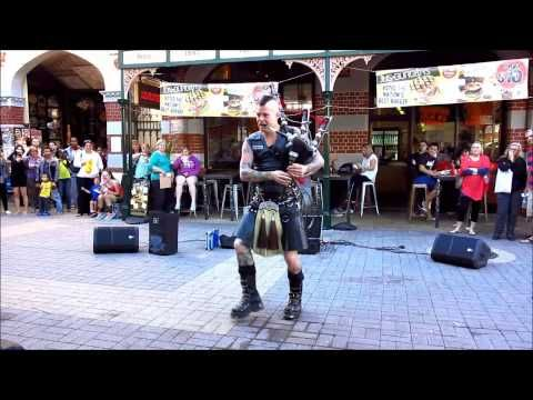 The Badpiper Thunderstruck: Kilted Tattooed (Hot) Man Plays AC/DC on Fire-Spewing Bagpipes [HD 3D]