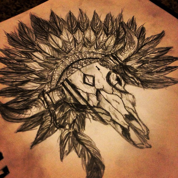 Bull skull with a head dress, custom design.