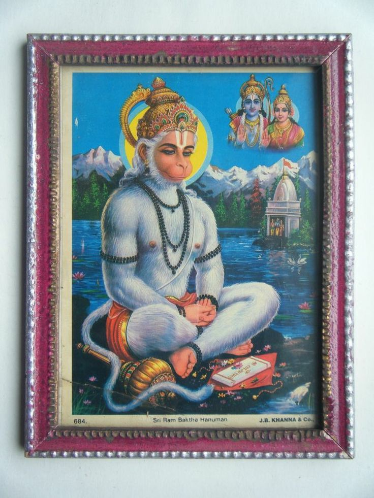 lord hanuman monkey god hindu god old art print in old wooden frame india 2283