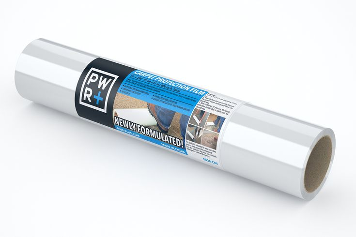 "Pwr+ Carpet Protector Surface Shield 36"" x 200' Plastic Film Paint Protector, Self Adhesive Protective Tape, Carpet Cover, Rug Protection Roll"