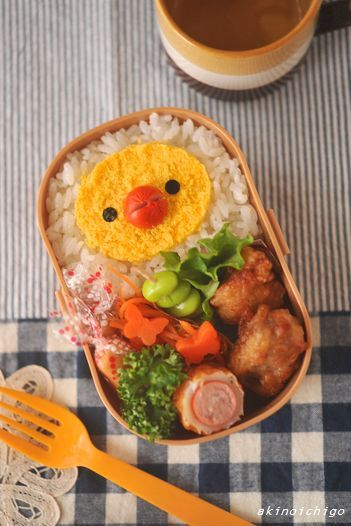 Minced Egg chick #bento - blog includes instructions and photo #tutorial (just needs to be translated from the Japanese).
