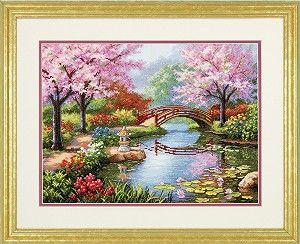 Japanese Garden Counted Cross Stitch Kit  #crossstitch #garden #scenic #asian #oriental #cross_stitch #kit #needlework #crafts #diy