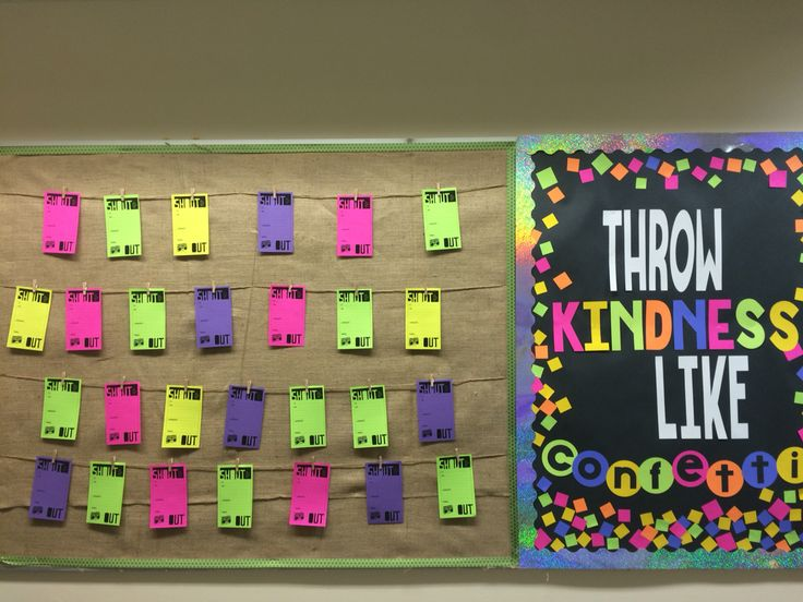 Middle School Bulletin Board featuring student shout-outs on clothes pins!