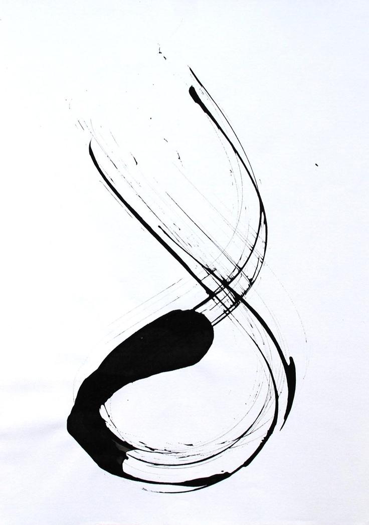 Original abstract ink drawing on paper A4 - Crossing minds.