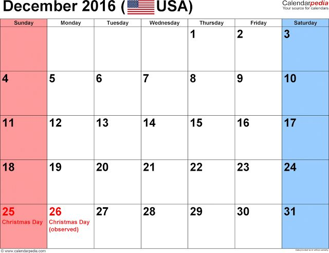 dec 2016 calendar   Get Printable Calendar : December 2016 Calendar with ...