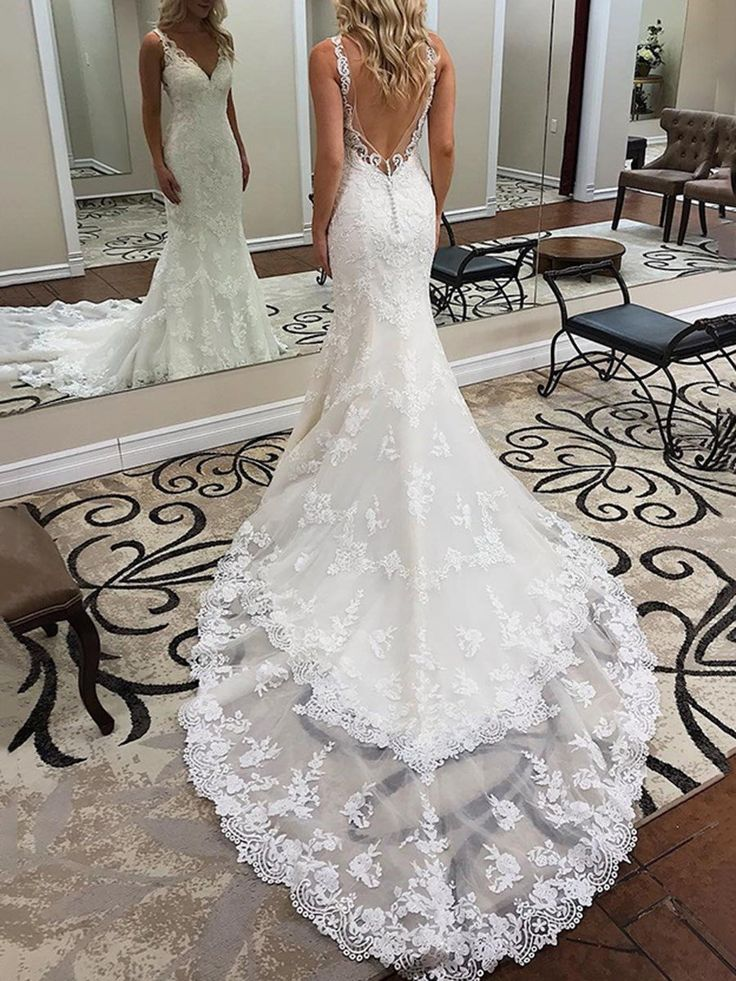 Chapel Floor-Length Sleeveless V-Neck Church Wedding Dress