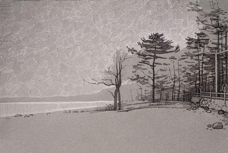 #gulf of Finland #landscape #trees #sketch