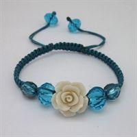 Stone Flower Macrame Bead Bracelet Kit - Off-White & Teal Blue