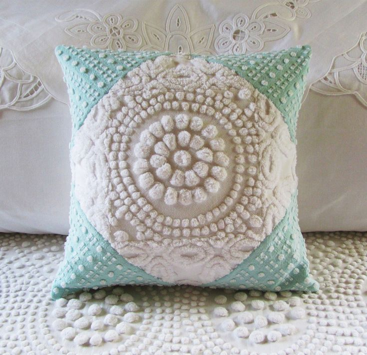 Items Similar To Aqua Cushion Cover White Target Turquoise Chenille Pillow Cover 14 X 14 White Chenille Aqua Pillow Cottage Chic Shabby Style On Etsy