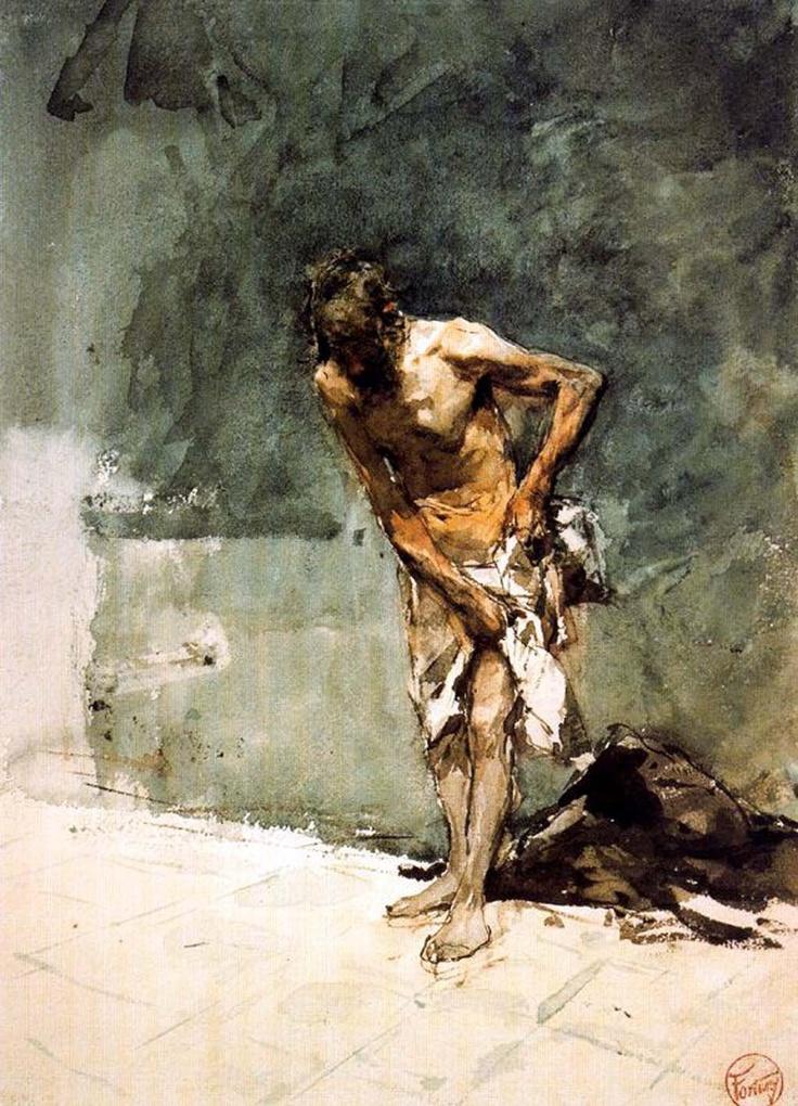 Hombre semidesnudo - Mariano Fortuny y Marsal - Date between 1870 and 1872 (Lápiz y acuarela sobre papel.) Museo Goya. Castres. Francia