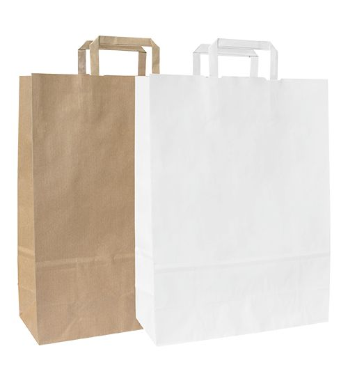 Papírové tašky s plochým papírovým držadlem.