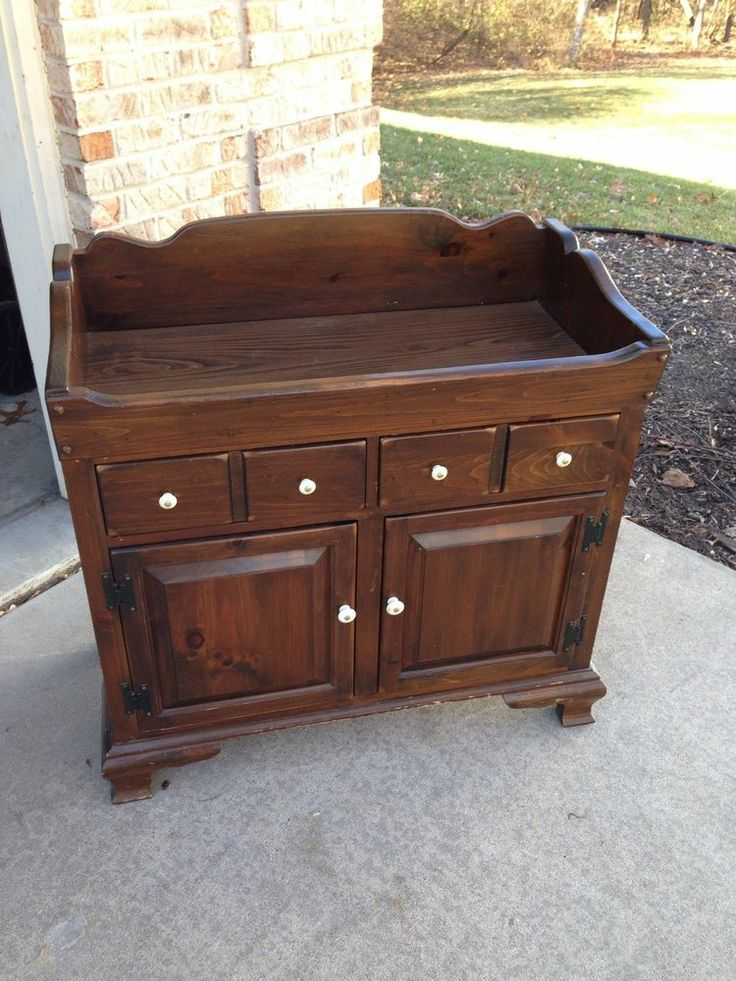 Ethan Allen Dark Antiqued Pine Old Tavern Dry Sink Cabinet