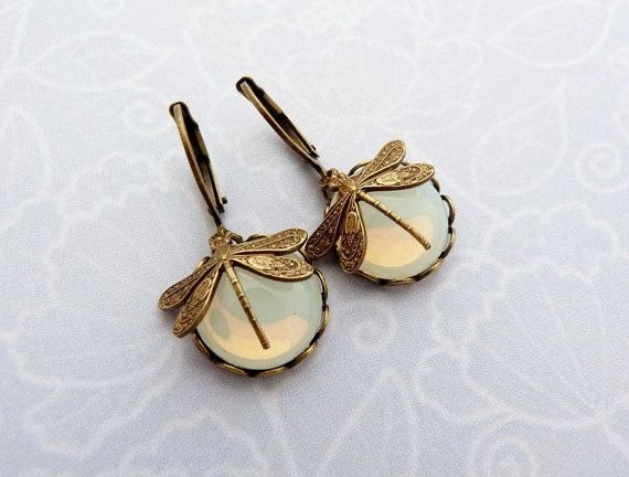 White opal dragonflies  earrings victorian style by annatelope