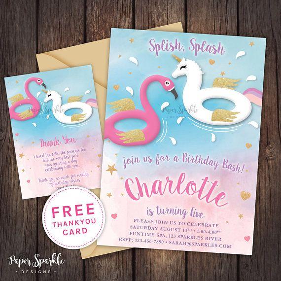 Unicorn invitation Unicorn party Unicorn pool party